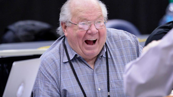 Mar 26, 2015; Syracuse, NY, USA; CBS announcer Verne Lundquist during practice for the semifinals of the midwest regional of the 2015 NCAA Tournament at Carrier Dome. Mandatory Credit: Mark Konezny-USA TODAY Sports