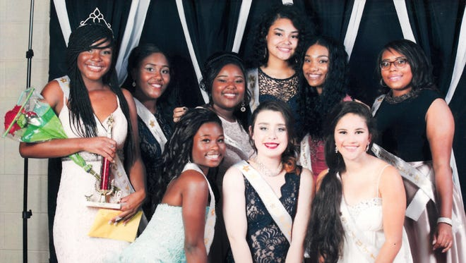 DeAdrea Brown, shown here at far left, was crowned Saturday night as the winner of the 2016 Miss Beautiful Me Pageant. The pageant is sponsored yearly by the Henderson Black History Committee. Other contestants include, in front from left, NyShawna Robinson, Jamia Lingerfelt and Alexis Purdy. In back from left are pageant winner Brown, then Rmani Leachman, Aniyah Littles, Breah Marshall, Regina Parker and Denae Gilbert.