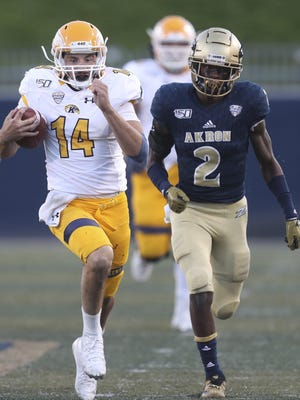 Kent State quarterback Dustin Crum hopes to lead the Golden Flashes to greater heights after guiding them to a bowl win last season.