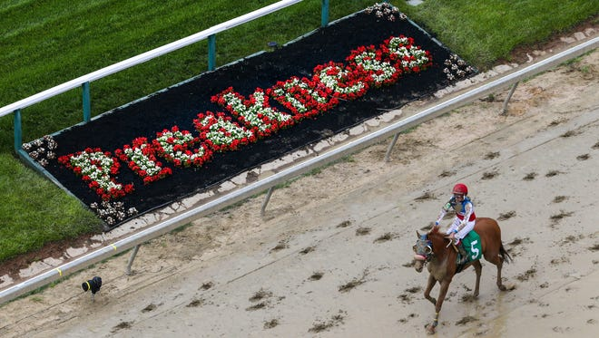 The track at Pimlico was sloppy on Friday, May 18, 2018, the day before the 143rd Preakness. Saturday's Preakness is expected to be wet as Kentucky Derby winner Justify is favorited to win and go on to the Belmont Stakes.