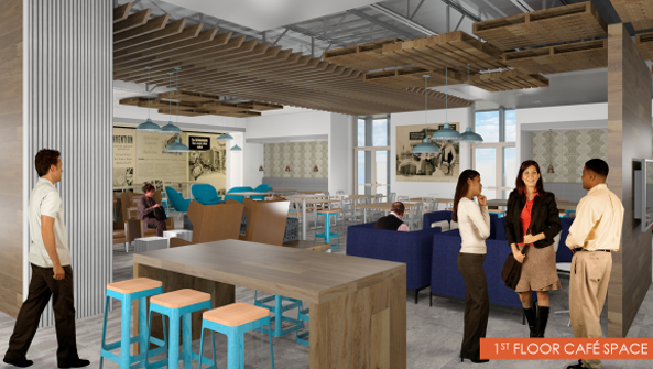 A rendering of a cafe within the new Johnson Controls