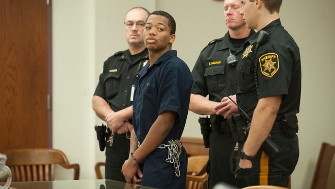 Tyhan Brown, 18, of Camden, who is charged with murder in the August shooting death of 8-year-old Gabby Hill-Carter, was ordered held on $1.5 million cash bail at an arraignment hearing Tuesday.