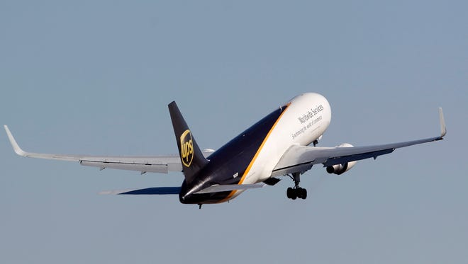 A UPS aircraft takes off at Louisville International Airport.