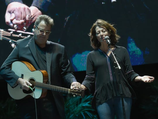Singer/songwriter Vince Gill joins his wife singer/songwriter