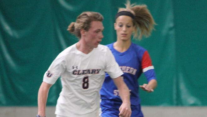 Garrett Abbey, shown earlier this season, scored Cleary's final two goals of the season in a 3-0 victory.