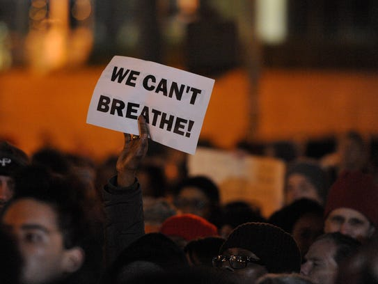An Eric Garner protest in NYC's Foley Square, in front