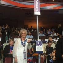 South Dakota delegate Sharon Stroschein of Mansfield on the floor of the Democratic National Convention July 28, 2016.