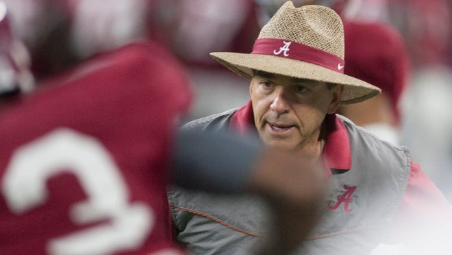 Alabama head coach Nick Saban during practice for the Cotton Bowl on Sunday December 27, 2015 at the AT&T Stadium in Arlington, Tx.