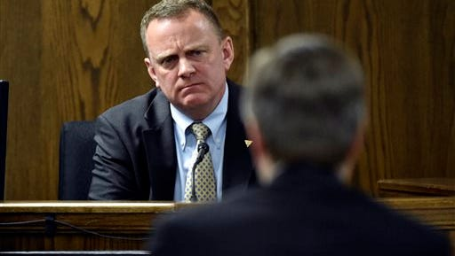 Forensics expert Howard Ryan testifies during the capital murder trial of former Marine Cpl. Eddie Ray Routh at the Erath County, Donald R. Jones Justice Center in Stephenville Texas, on Tuesday, Feb. 24, 2015. Routh, 27, of Lancaster, is charged with the 2013 deaths of Chris Kyle and his friend Chad Littlefield at a shooting range near Glen Rose, Texas. (AP Photo/The Dallas Morning News, Michael Ainsworth, Pool)