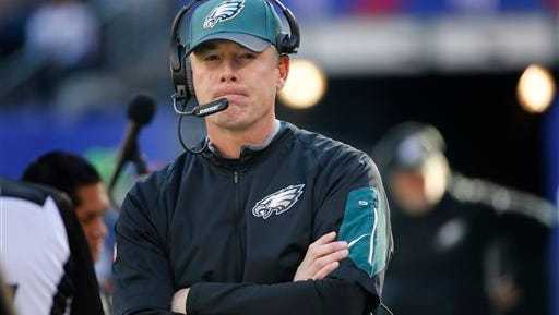 Interim head coach Pat Shurmur interviewed for the Eagles' head coaching job Monday as the Eagles search for Chip Kelly's replacement.