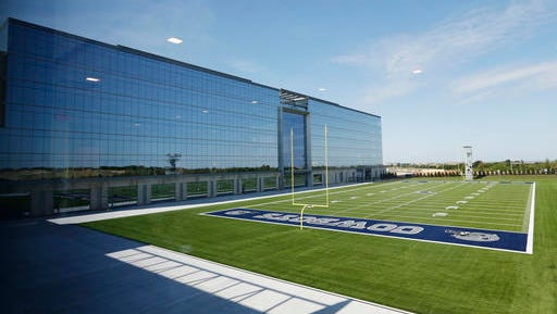 This Sunday, Aug. 21, 2016 photo shows one of the two practice fields at the Dallas Cowboys new headquarters at The Star in Frisco, Texas. The Cowboys had their first workday Sunday at their new practice facility _ part-headquarters, part-spa, part-museum with amenities the players probably couldn't have imagined at aging Valley Ranch.