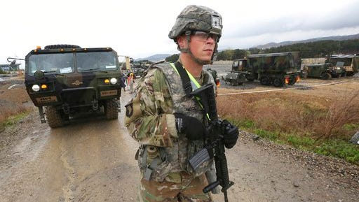 A U.S. Marine soldier conducts the U.S.-South Korea joint Exercise Operation Pacific Reach in Pohang, South Korea on April 11.