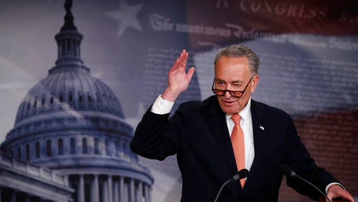 Senate Minority Leader Charles Schumer of N.Y. speaks to reporters during a news conference on Capitol Hill in Washington, Thursday, April 27, 2017.