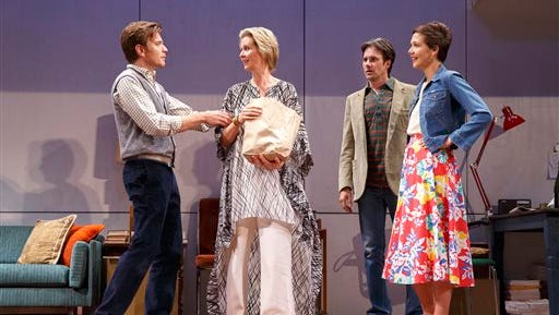 """This 2014 photo provided by Roundabout Theatre Company shows, from left, Ewan McGregor, Cynthia Nixon, Josh Hamilton and Maggie Gyllenhaal, in a scene from Tom Stoppard's play, """"The Real Thing,"""" in New York. McGregor and Gyllenhaal are making their Broadway debut as lovers in the play which opens Thursday, Oct. 30, 2014, at the American Airlines Theater in New York.  (AP Photo/Roundabout Theatre Company, Joan Marcus)"""
