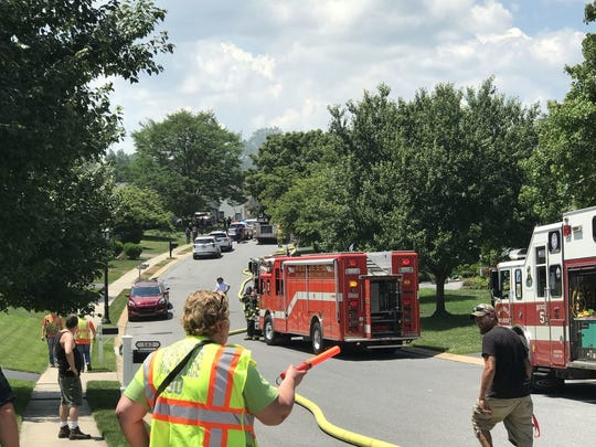 Authorities respond after an explosion in Manor Township, Lancaster County, Pa., Sunday, July 2, 2017. Authorities say the deadly blast believed to have been a gas explosion leveled a Pennsylvania home.
