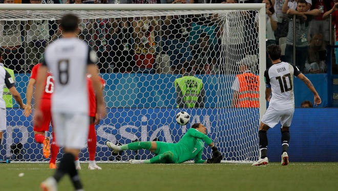 Bryan Ruiz's penalty kick bounced off the back of Switzerland goalkeeper Yann Sommer and into the net for the eighth own goal scored during the 2018 World Cup.