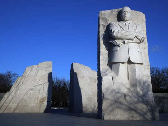 The Martin Luther King, Jr. Memorial on MLK Day, Monday, Jan. 21, 2019, in Washington. (AP Photo/Jacquelyn Martin)