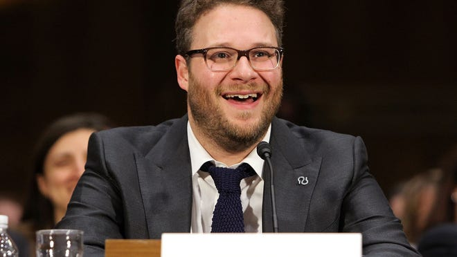 """WASHINGTON, DC - FEBRUARY 26:  Actor Seth Rogen testifies at the """"Taking A Toll On Families And The Economy: The Rising Cost Of Alzheimer's In America"""" Hearing at Dirksen Senate Office Building on February 26, 2014 in Washington, DC.  (Photo by Paul Morigi/WireImage)"""