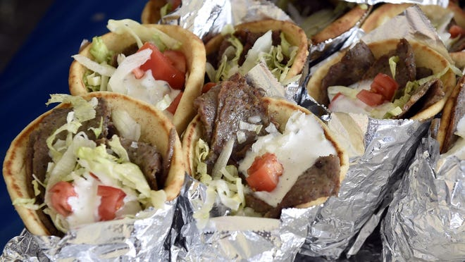 Gyros await customers during a past Panegyri Greek Festival. This year, due to COVID 19, they'll only be available for pickup at Assumption Greek Orthodox Church.
