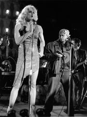 """Todd Almond (L) starred in Ensemble Theatre Cincinnati's 2003 production of """"Hedwig and the Angry Inch."""" Seen here with him is a. Beth Harris, in the role of Yitzhak. A new production of the show will close ETC's 2017-2018 season."""