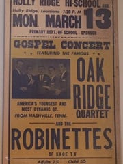 A poster for the Robinettes performance with the Oak