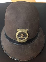 This late 1800s bobby-style police hat was recently donated to the Elmira Police Department.