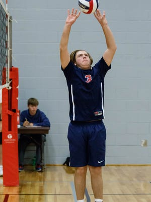 Brookfield East's Andrew Van Ert (3) sets during the Kettle Moraine boys varsity volleyball tournament on Saturday, Sept. 2, 2017.