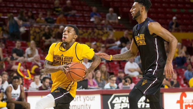 Arizona State guard Shannon Evans goes up for a shot during a scrimmage at Wells Fargo Arena in Tempe on October 9, 2015.