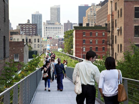 Stroll the High Line to admire the mellowing gardens and the cityscape.