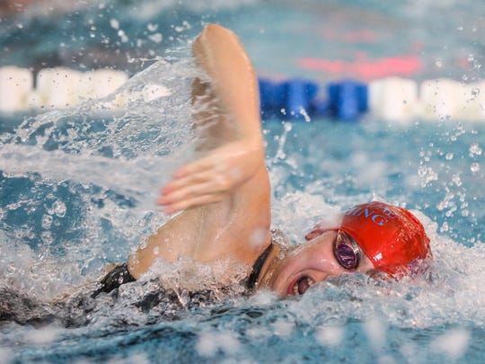 Roy C Ketcham's Heidi Simpfenderfer competes in the 200-yard freestyle at the NYS and Federation Girls Swimming & Diving Championships. Simpfenderfer placed 23rd in the event with a time of 1:56.60. The event was held at Ithaca College.