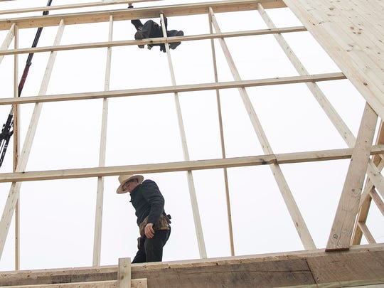 Amish Barn Raising Thursday, March 3, 2016, in Codorus Township. Amanda J. Cain photo