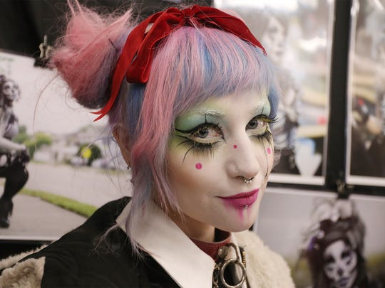 Make Up Artist Toshi Salvino, poses for a photo at her  Comic Con booth Saturday, March 5, 2016, at Old Main. Amanda J. Cain photo