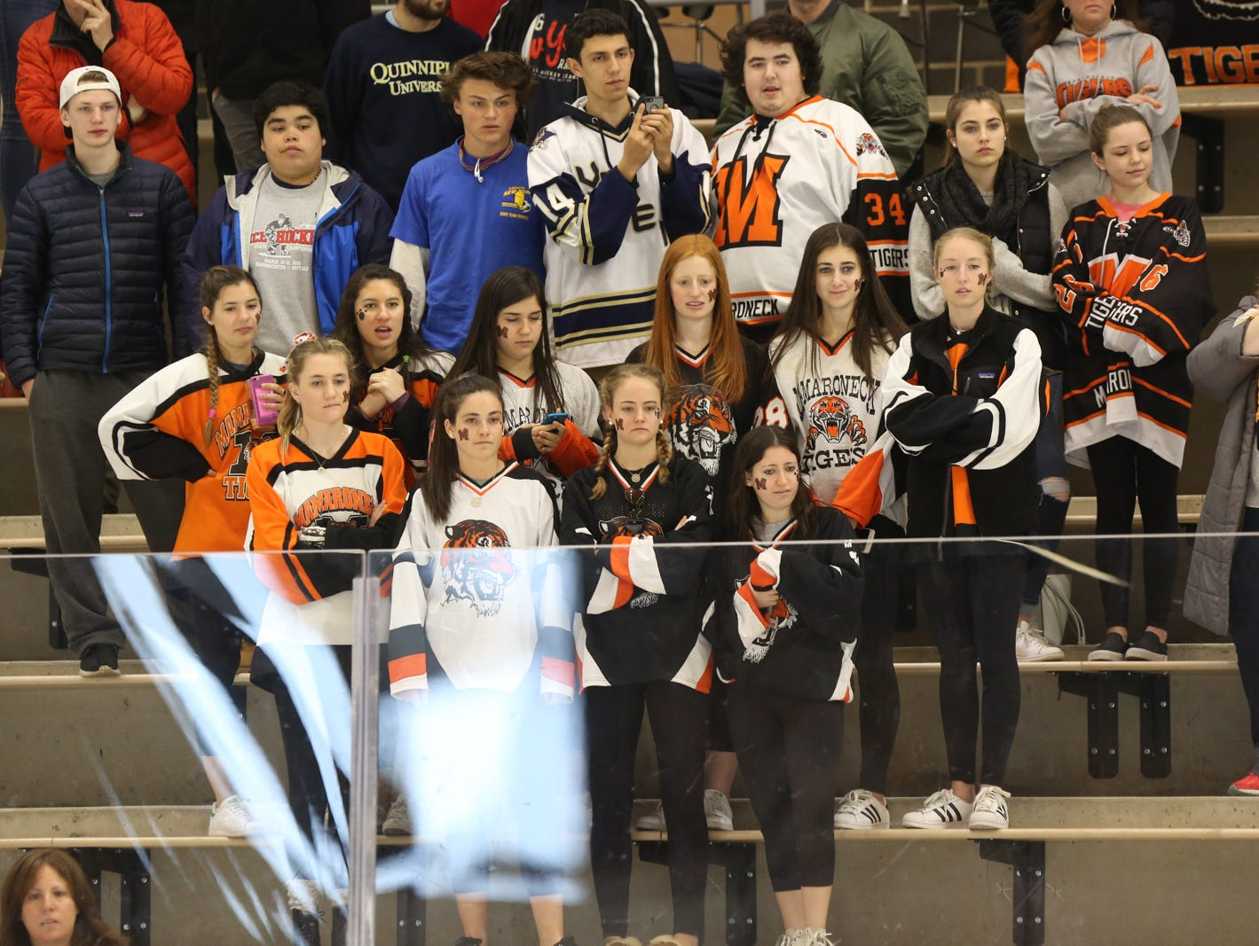 Mamaroneck fans watch the game in the second period. Mamaroneck defeated West Genesee 1-0 and won the NYSPHSAA Division 1 HarborCenter in Buffalo, NY. Nick Serrata - For The Journal News