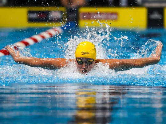 Ruby Martin competes in the 200-meter butterfly during