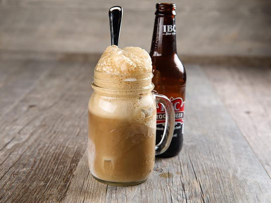 Root beer floats are served in Mason jars with handles at Jimmy P's Burgers & More in North Naples.