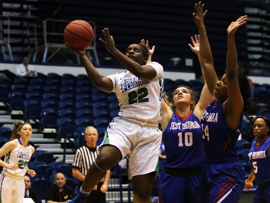 UWF's Shami Goodman drives to the basket Saturday during the Argos win against West Georgia in the GSC Tournament semifinal game in Birmingham.