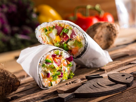 The sushi burritos at Finbomb Sushi Burrito & Poké Bar can be wrapped in nori, soy paper or a flour tortilla.