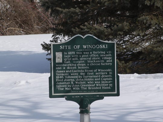Historic marker in Winooski commemorating a once vibrant