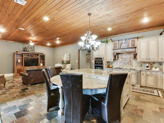 The kitchen is huge with plenty of space for casual