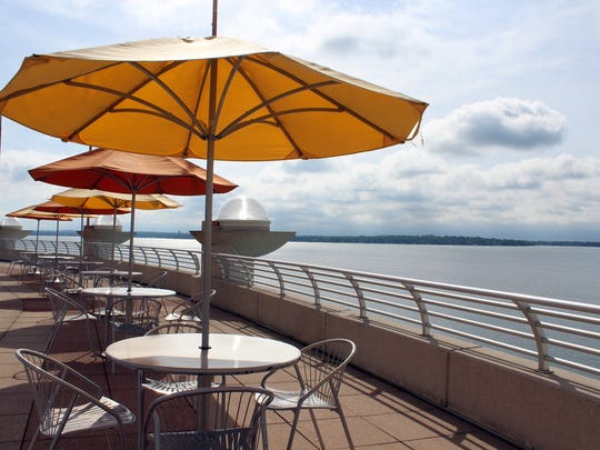 Rooftop views from the gardens of Monona Terrace are of glimmering Lake Monona.