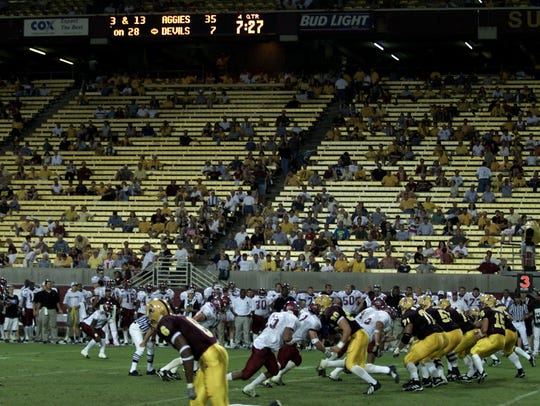 Sun Devil Stadium was mostly empty with 7:27 left in