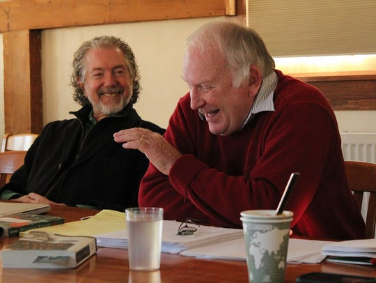 Jay Craven, left, discusses the late Vermont author