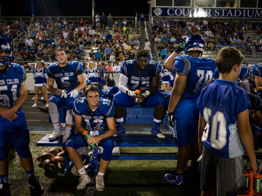 Members of the Barron Collier High School football team during a game against Golden Gate High School at Barron Collier High School on Thursday, September 28, 2017.