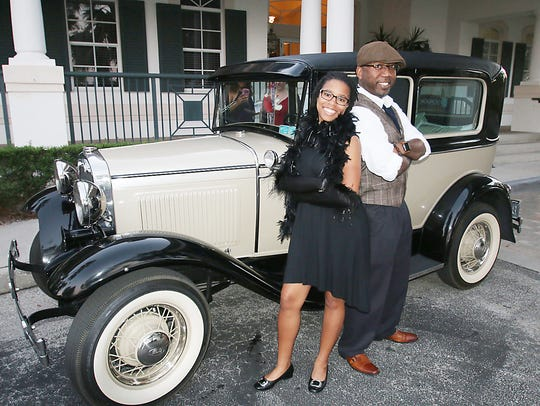 Brianna and Christopher Wright dress in 1920's attire