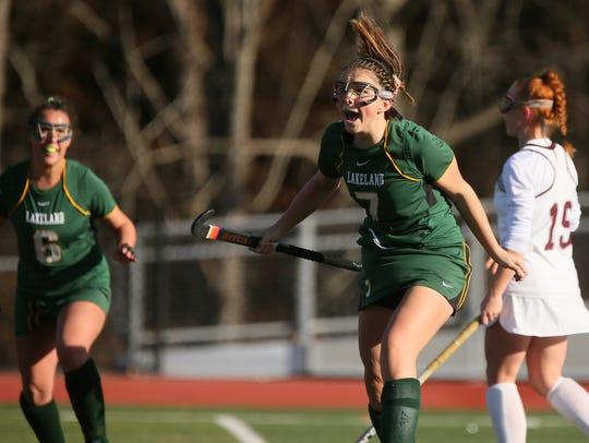 Lakeland's Julia Papanicolaou (7) reacts to the goal