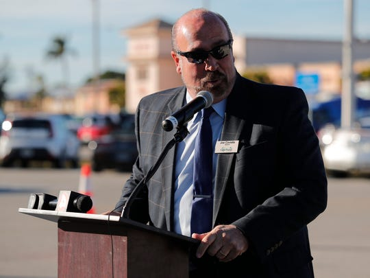 Joe Coviello, Cape Coral mayor, participates in a groundbreaking ceremony Thursday afternoon for the upcoming SE 47th Terrace Streetscape Project in Downtown Cape Coral. The project includes a series of infrastructure improvements, beautification enhancements and the addition of wide, multi-use paths to both sides of the roadway from Coronado Parkway to SE 15th Avenue.
