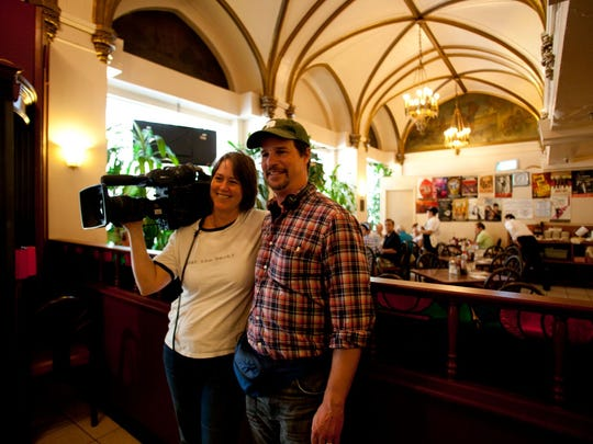 """Directors Hank Rogerson and Jilann Spitzmiller take a break during the filming of """"Still Dreaming"""" in 2011."""