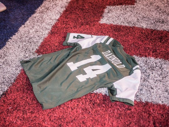 A new Sam Darnold Jets Jersey. MetLife Stadium was