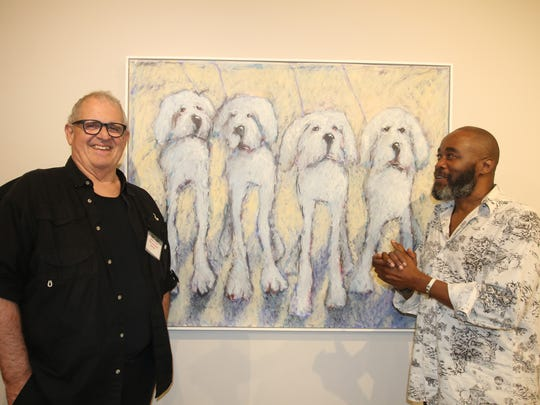 """Exhibiting Artist Skip Hartzell and Michael Penn at the  """"Just Four Fun"""" exhibit at the A.E. Backus Museum & Gallery in Fort Pierce."""