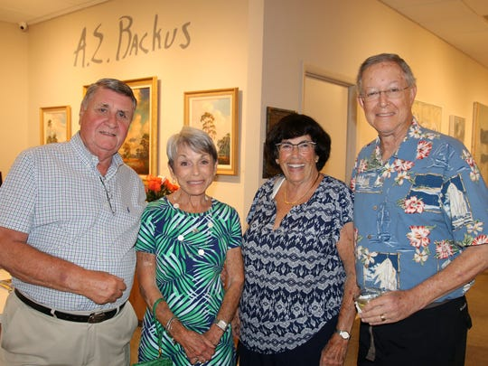 """Paul and Sue Dasso and Board of Associates member Cleo Stern and Richard Stern at the May 11 opening of the A.E. Backus Museum & Gallery  exhibition of """"Just Four Fun."""""""